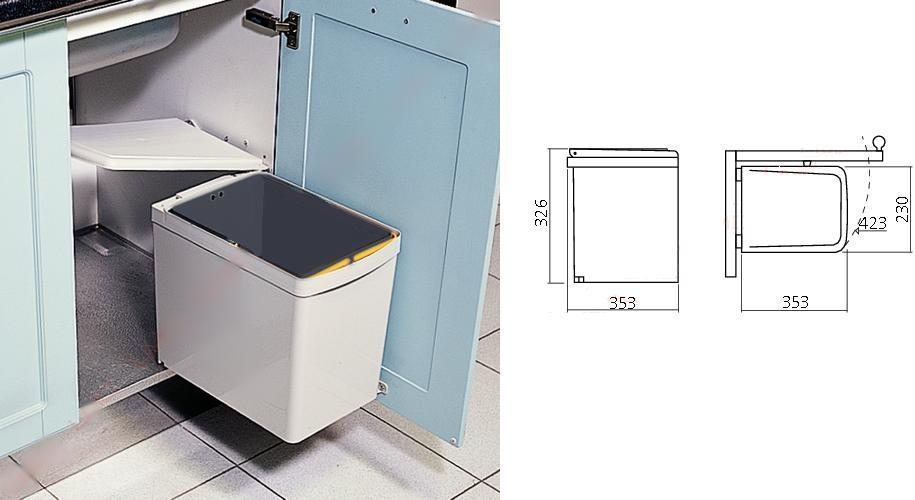 Afvalbak Keuken 50 Liter : Afvalemmer – inbouw – afvalemmers – Afvalemmer kast 50 cm – Draaideur
