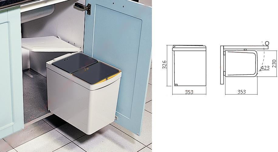 Afvalbak Keuken Inbouw : Afvalemmer – inbouw – afvalemmers – Afvalemmer kast 50 cm – Draaideur
