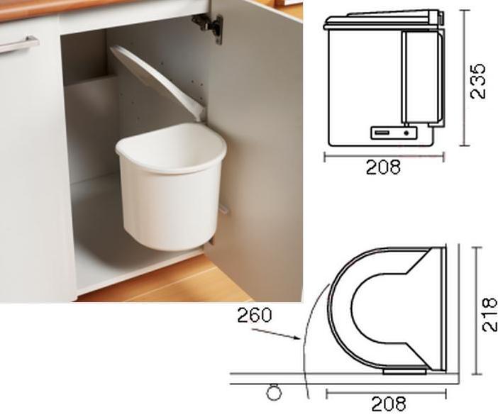 Afvalbak Keuken Inbouw : Badkamer afvalemmer Inhoud: 5 liter bxdxh: 208x218x235 Inbouwruimte